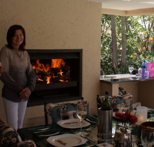 Ma looking a bit awkward at a braai at home