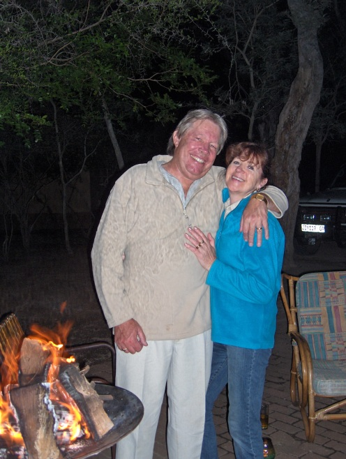 Ma & Vic in The Kruger having a braai