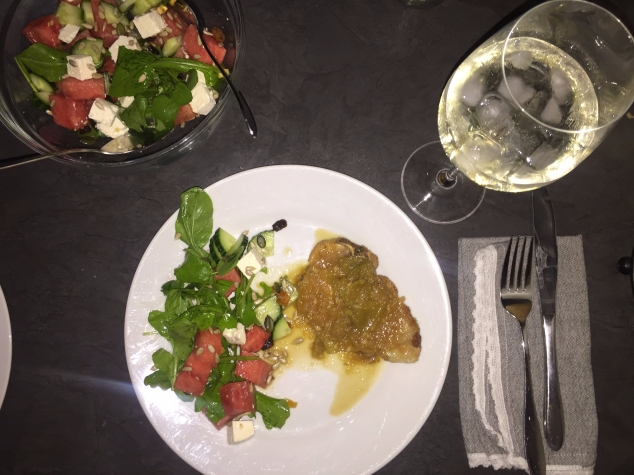 Fruity Pork chop & Watermelon Salad
