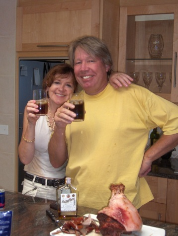 Mum & Vic making the gammon one Christmas when I convinced them to try some Thai Rum I brought back