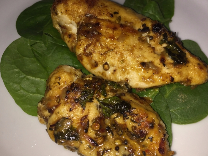 Seasoned Chicken on Baby Spinach